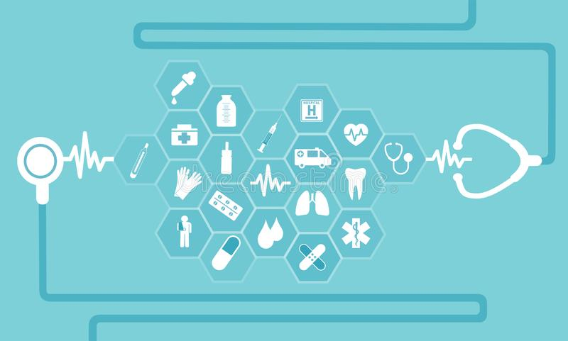 Dirigez les icônes plates dans des soins de santé de médecine illustration libre de droits