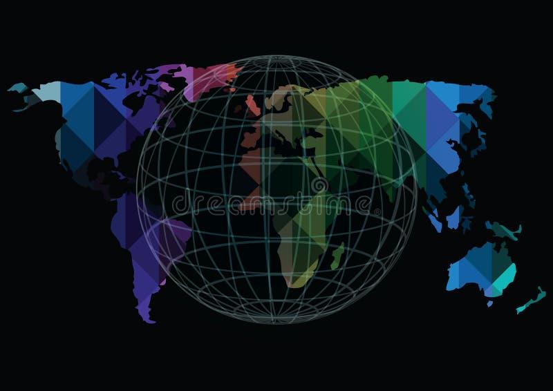 Dirigez les icônes de carte et de globe du monde d'isolement sur le fond noir illustration stock