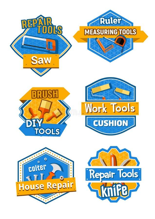 Dirigez les icônes de la construction à la maison et réparez les outils illustration stock