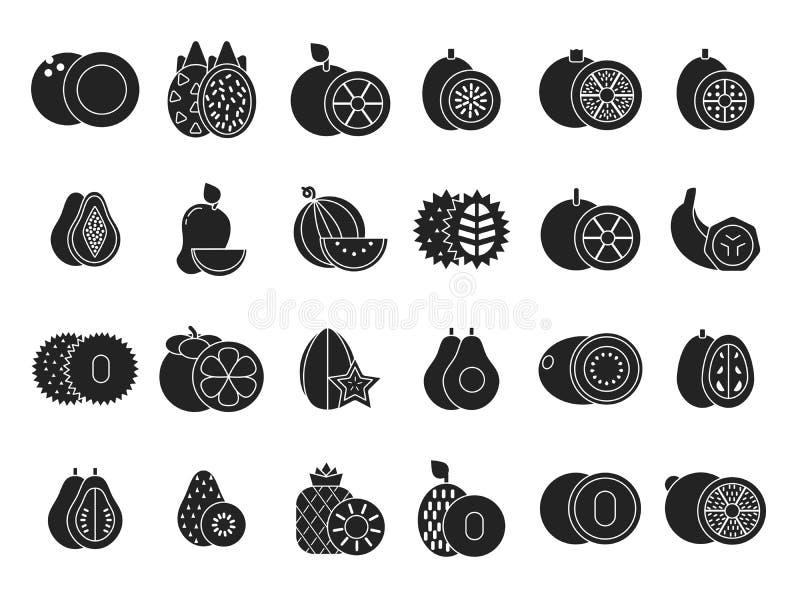 Dirigez les illustrations monochromes de différents fruits sains tropicaux illustration de vecteur