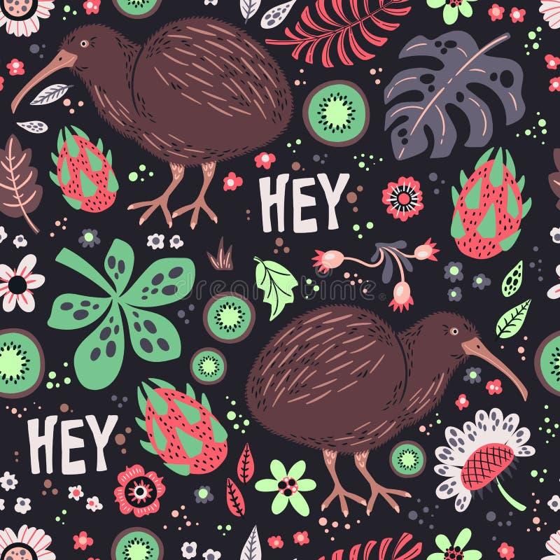 Dirigez les illustrations tir?es par la main plates Configuration Oiseau de kiwi avec des plantes et des fleurs illustration stock