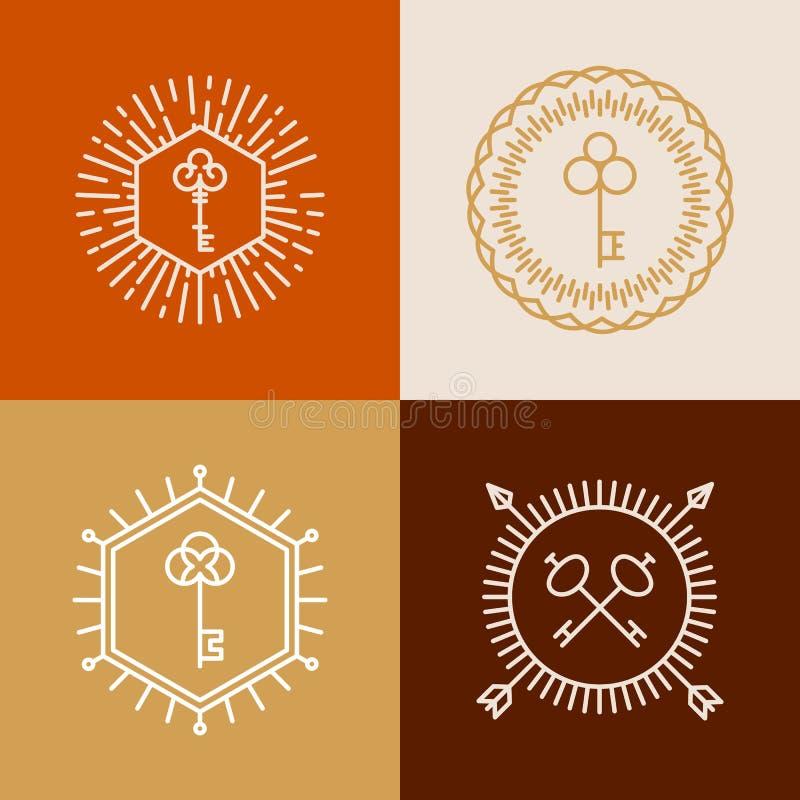 Dirigez les insignes linéaires dans le style de hippie avec des clés illustration libre de droits