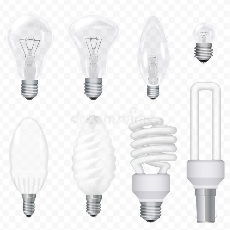Dirigez les lampes économiseuses d'énergie réalistes d'ampoules d'isolement sur le fond Ensemble d'ampoule illustration stock