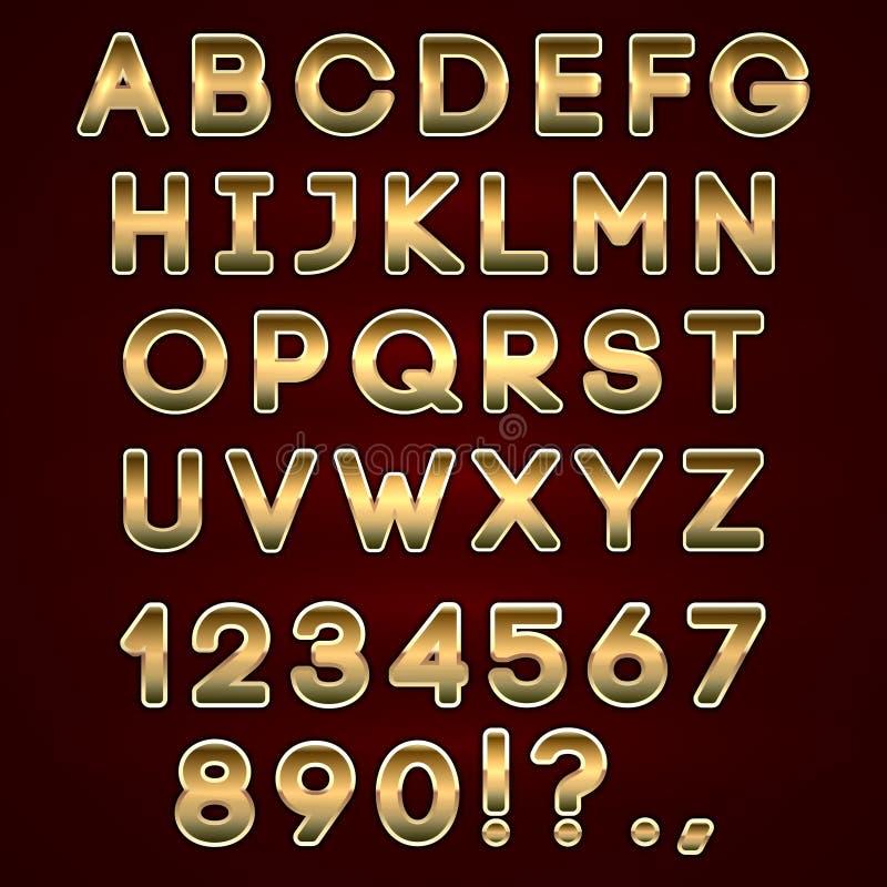 Dirigez les lettres au néon d'or audacieuses d'alphabet sur l'obscurité illustration stock