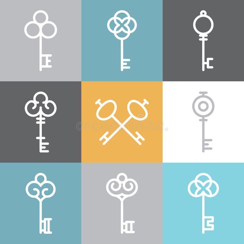 Dirigez les logos principaux et signez dedans le style linéaire illustration stock