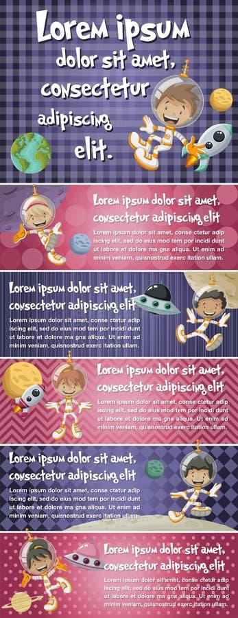 Dirigez les milieux de brochure avec jouer heureux d'enfants de bande dessinée illustration de vecteur
