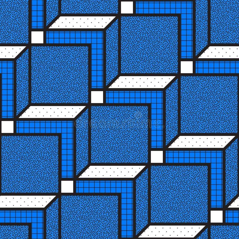Dirigez les modèles sans couture géométriques avec des formes mathématiques audacieuses texturisées illustration stock