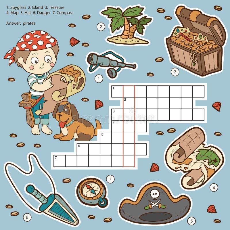 Dirigez les mots croisé de couleur, jeu d'éducation au sujet des pirates illustration libre de droits