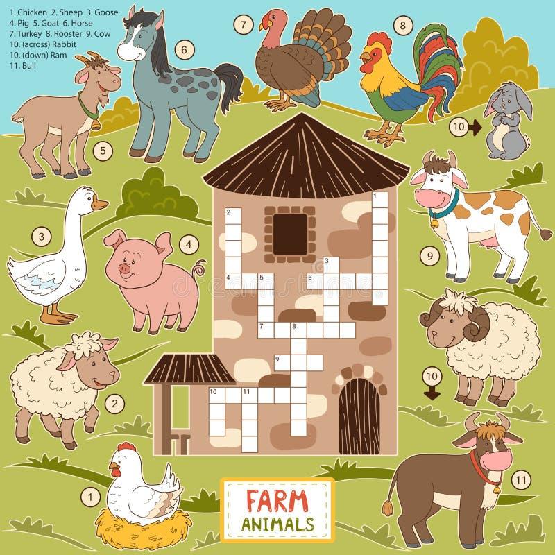 Dirigez les mots croisé, jeu d'éducation pour des enfants au sujet des animaux de ferme illustration stock