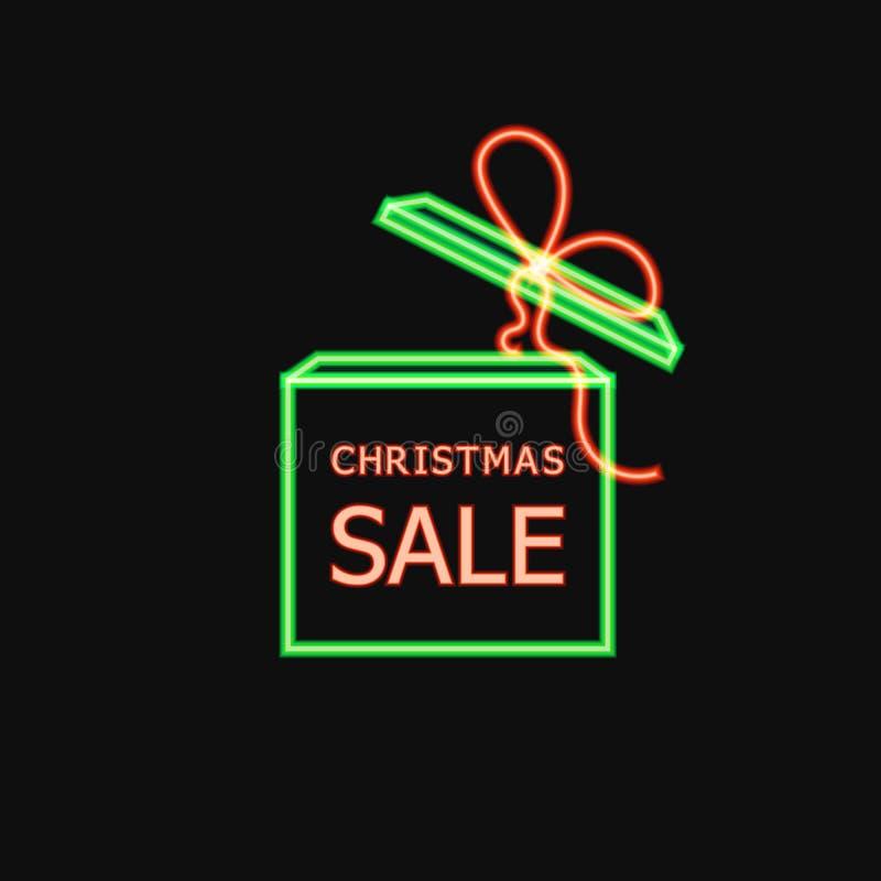 Dirigez les mots rougeoyants de vente de Noël d'american national standard de boîte-cadeau, étiquette brillante de vente au néon illustration stock