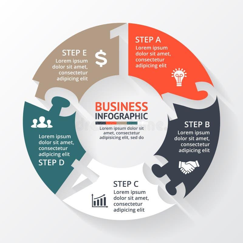 Dirigez les nombres de flèches de cercle infographic, diagramme, graphique, présentation, diagramme Concept de cycle économique a illustration de vecteur
