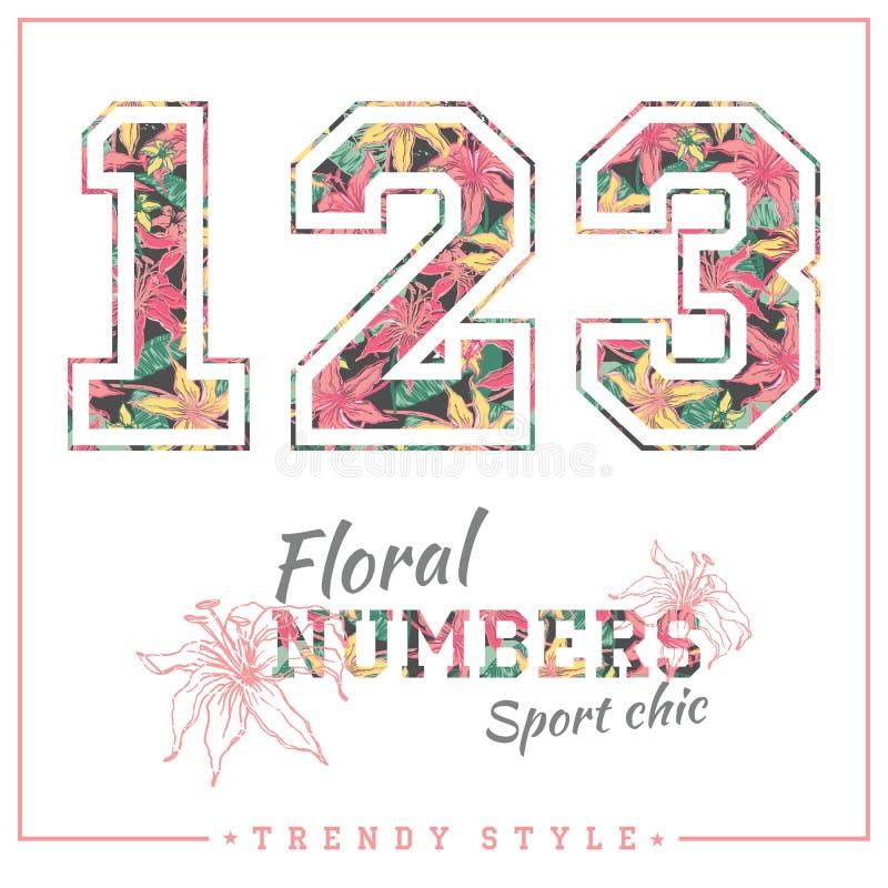 Dirigez les nombres floraux pour des T-shirts, des affiches, la carte et autre des utilisations illustration de vecteur