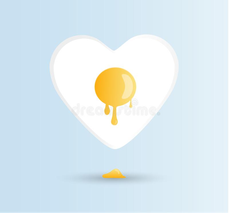 Dirigez les oeufs d'amour d'I, concept bonjour On a fait frire l'ensoleillé-side vers le haut de l'oeuf de poule ou de poulet ave illustration de vecteur