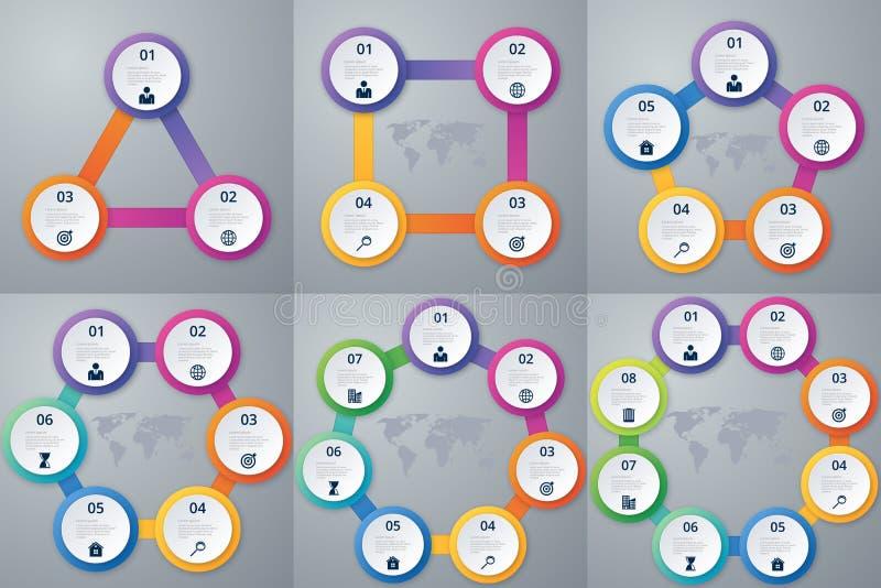 Dirigez les options de l'infographics d'illustration trois, quatre, cinq, six, sept et huit illustration libre de droits