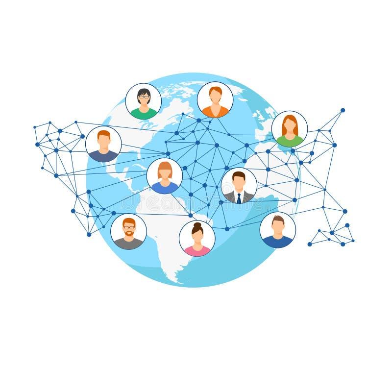 Dirigez les personnes de carte du monde de fond à la connexion de personnes communication de concept par l'intermédiaire de l'Int illustration de vecteur