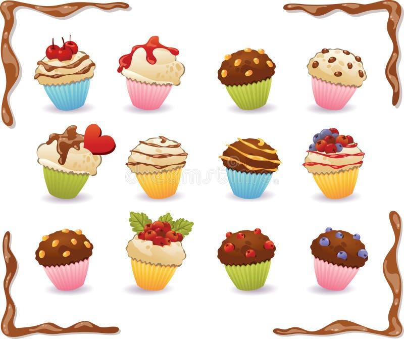 Dirigez les petits gâteaux avec le caramel, puces de chocolat, baies Chocolat photos stock