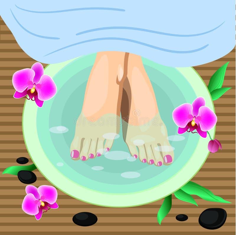 Dirigez les pieds femelles d'illustration à la procédure de pédicurie de station thermale Jambes, fleurs et pierres illustration de vecteur