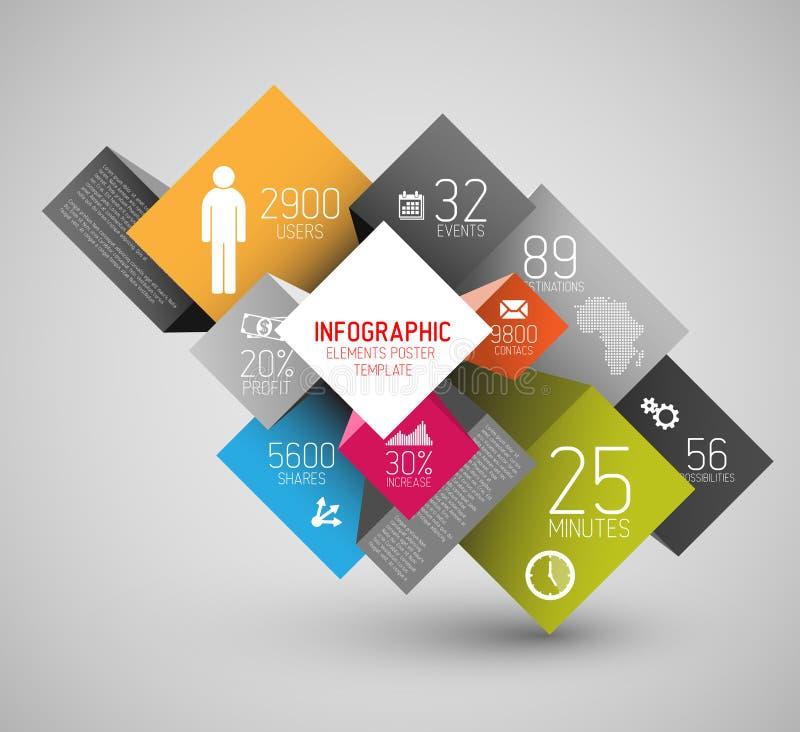 Dirigez les places abstraites et cubez l'illustration de fond/calibre infographic illustration de vecteur
