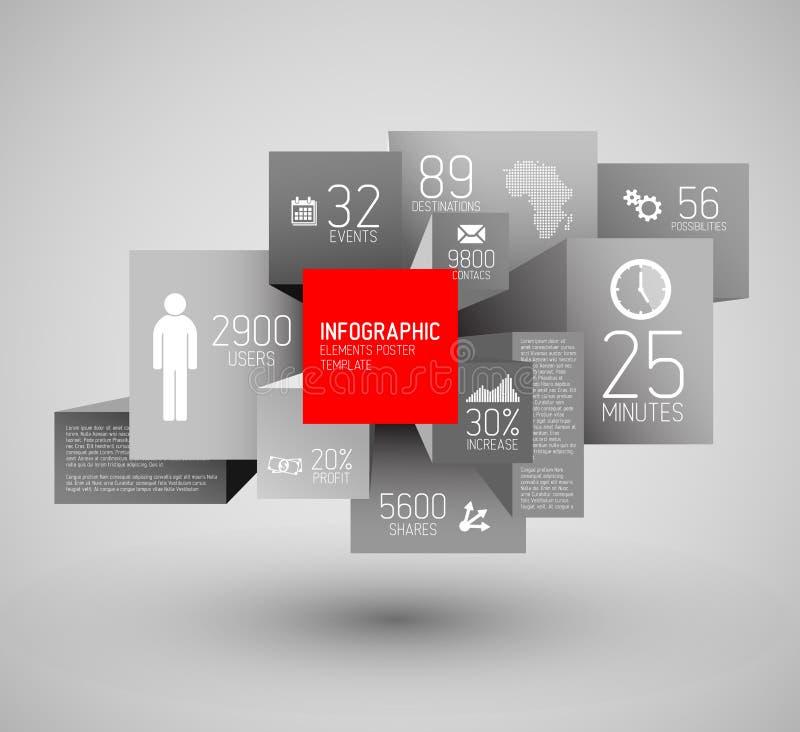 Dirigez les places abstraites et cubez l'illustration de fond/calibre infographic illustration libre de droits