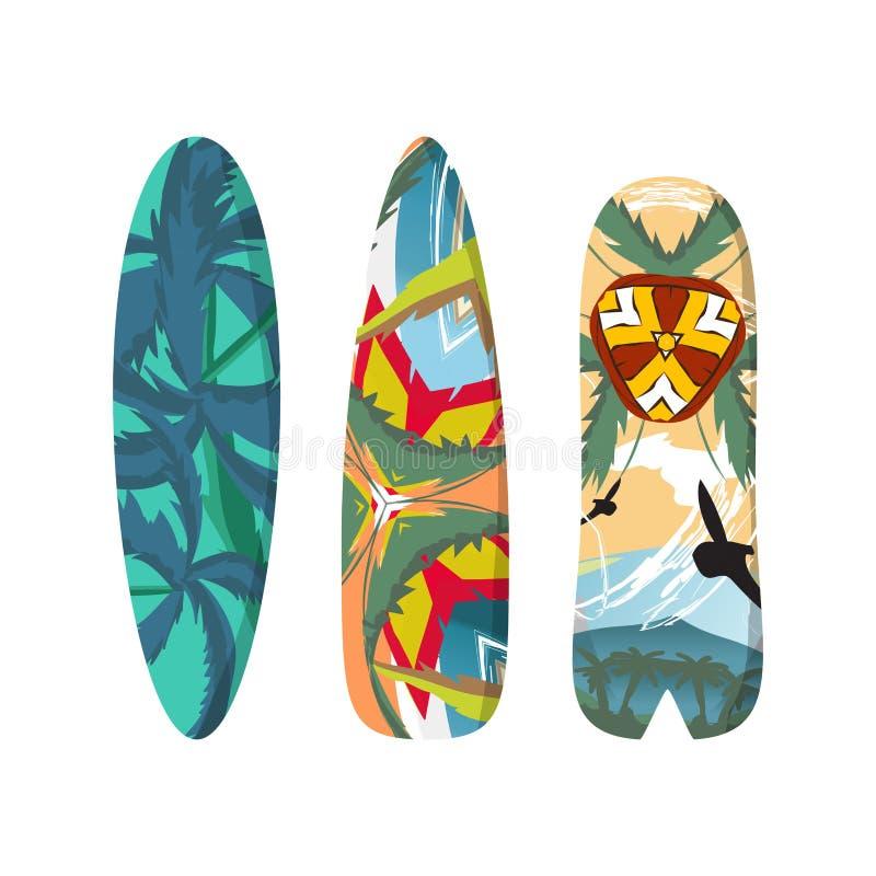 Dirigez les planches de surf réglées d'appartement d'isolement sur le fond blanc illustration libre de droits