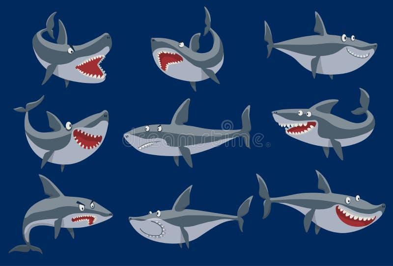 Dirigez les poissons drôles de requin de bande dessinée nageant la mascotte marine sous l'eau mignonne de faune de caractère de r illustration stock