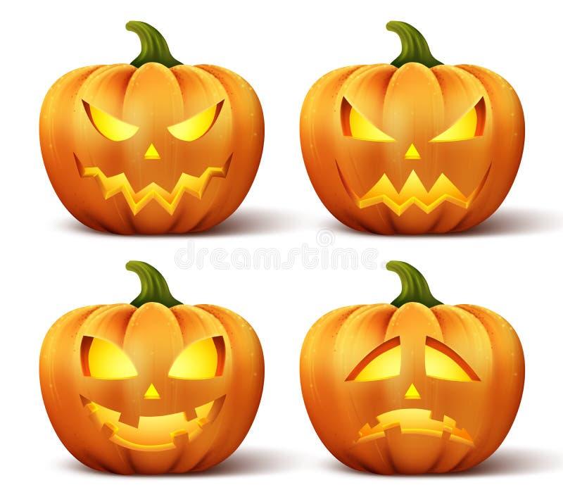Dirigez les potirons avec l'ensemble de différents visages pour l'icône de Halloween illustration stock