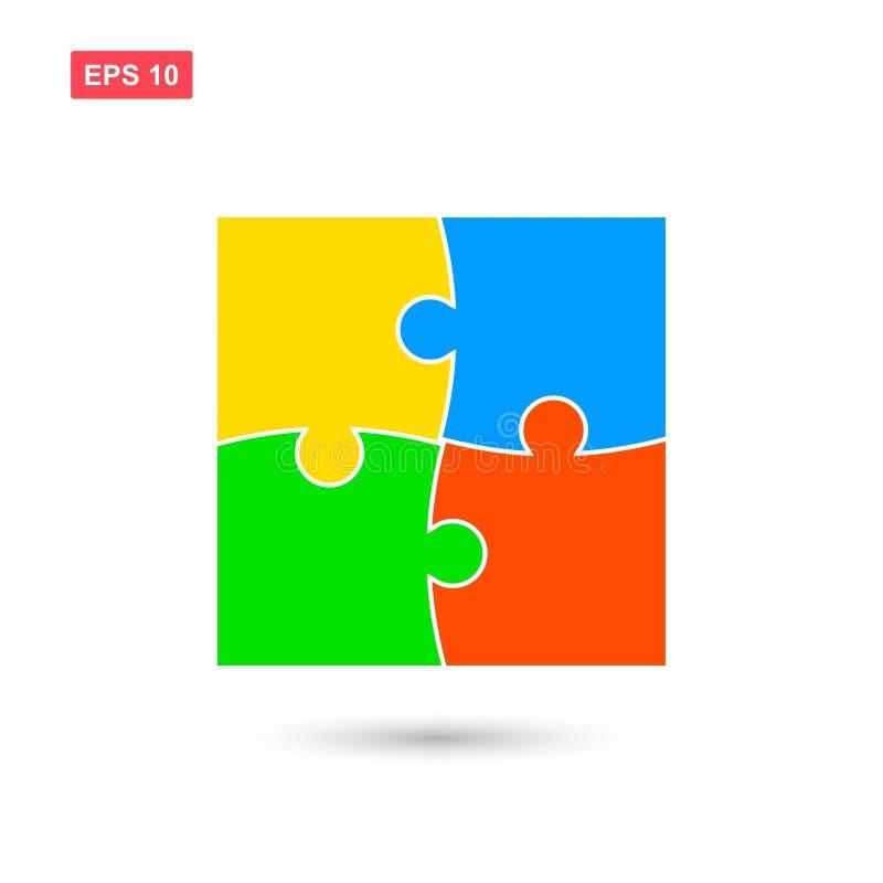Dirigez les puzzles plats avec quatre colos d'isolement illustration stock