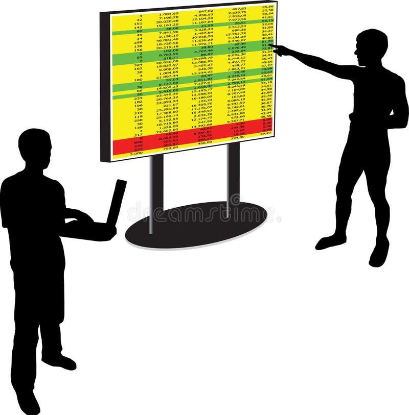 Dirigez les résultats d'exposition dans un whiteboard à un homme illustration stock