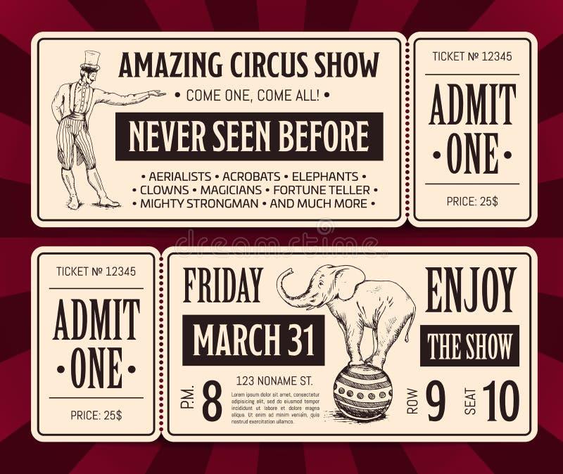 Dirigez les rétros calibres avant et arrières de billet de cirque avec la typographie et le magicien et l'éléphant tirés par la m images stock