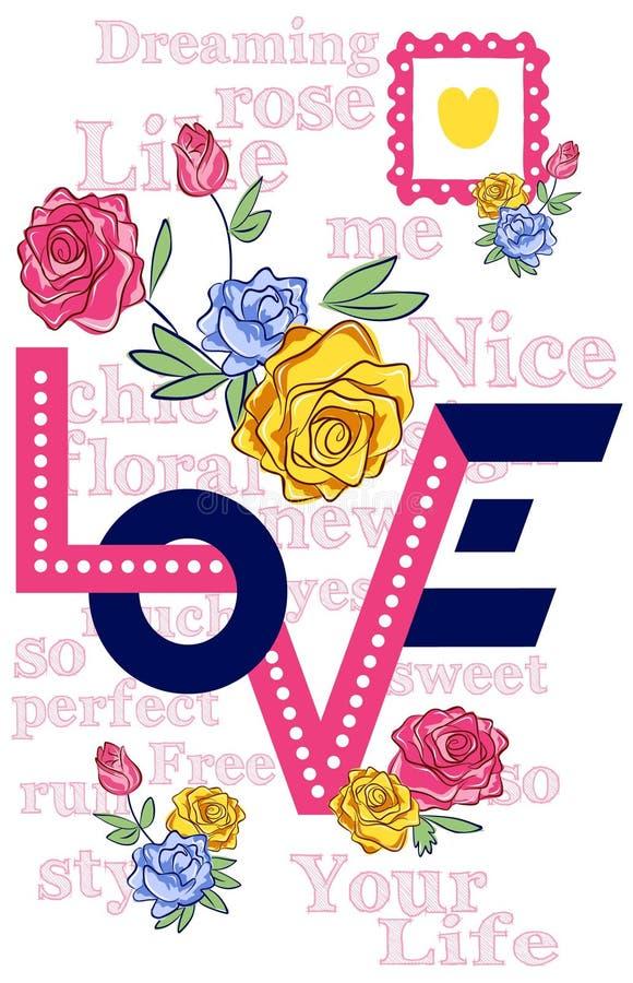 Dirigez les roses et les citations d'illustration pour des T-shirts, des affiches, la carte et autre des utilisations illustration de vecteur