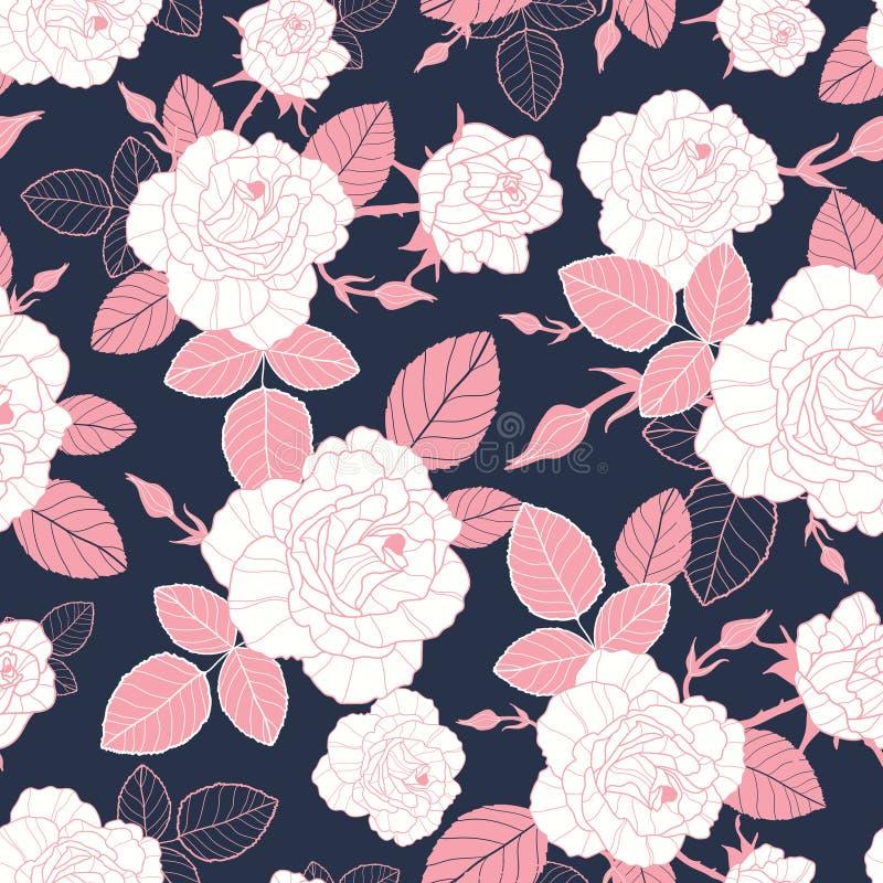 Dirigez les roses roses et blanches de vintage et les feuilles sur l'obscurité, modèle sans couture de répétition de fond de mari illustration de vecteur