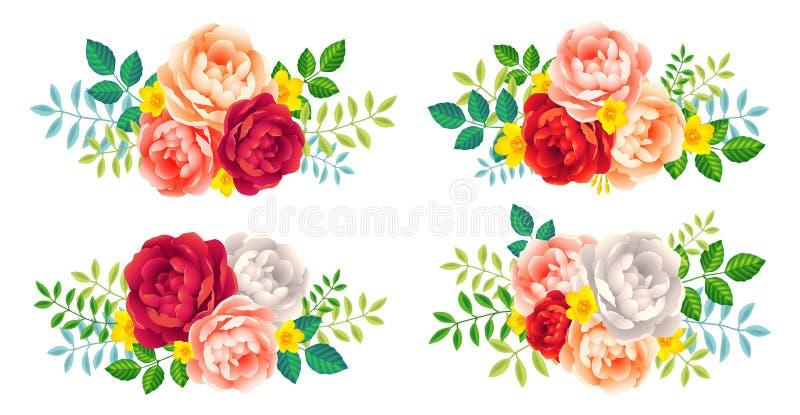 Dirigez les rosettes de roses avec des feuilles ensemble d'éléments décoratif de mariage et de vacances d'isolement sur le blanc illustration de vecteur