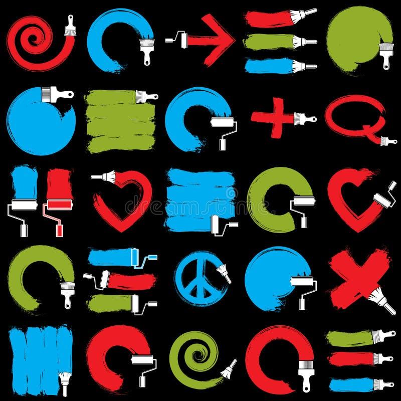 Dirigez les signes peints à la main d'art créés avec des traçages de tache, illustration stock