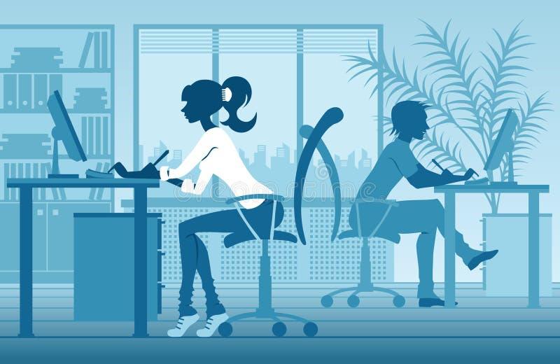 Silhouettes des personnes dans le bureau illustration stock