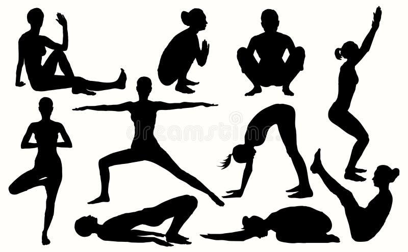 Dirigez les silhouettes de yoga 10 meilleurs asanas pour des femmes Ensemble de yoga images libres de droits