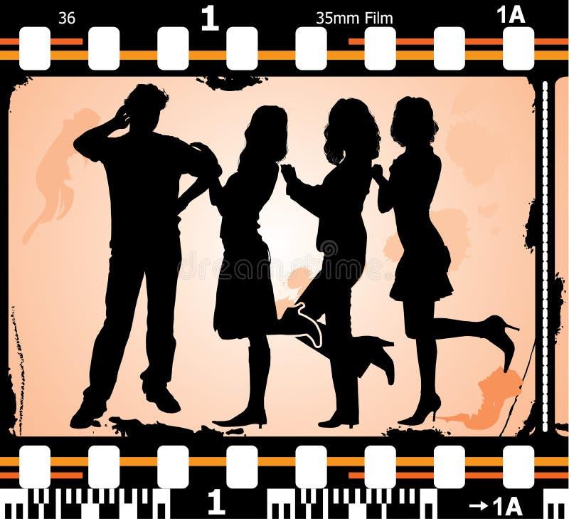 Dirigez les silhouettes homme et femmes en fonction sur le film photographique illustration libre de droits