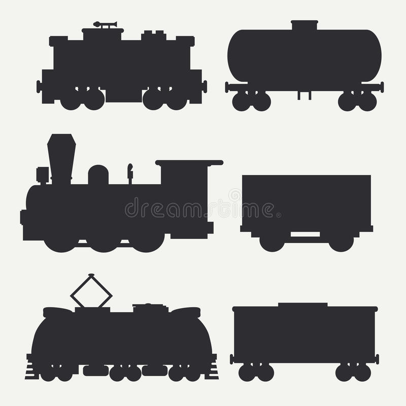 Dirigez les silhouettes modernes et de vintage de trains réglées avec des chariots de cargaison et échouez Locomotives de vapeur, illustration libre de droits