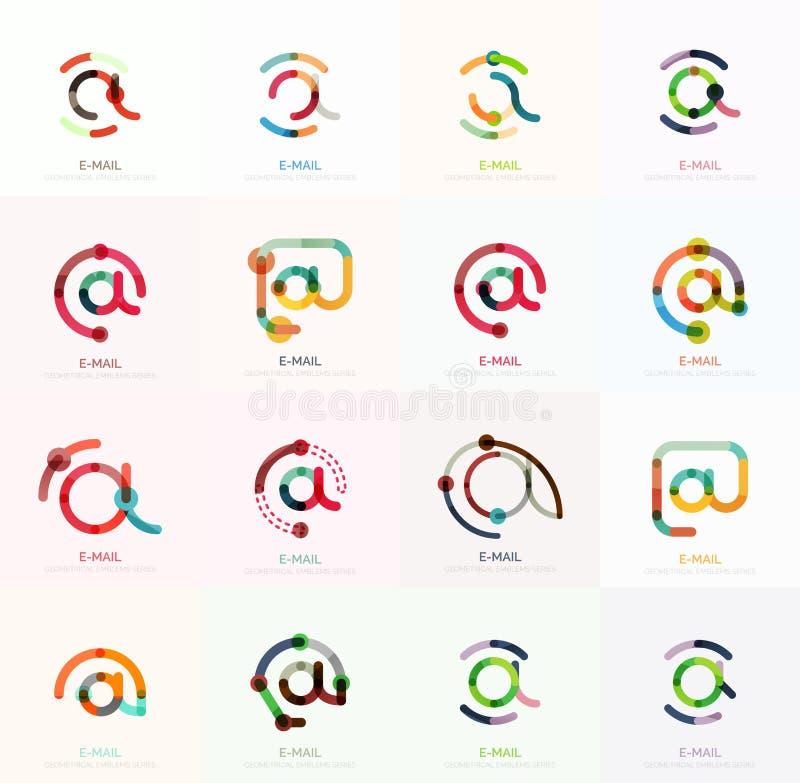 Dirigez les symboles d'affaires d'email ou à l'ensemble de logo de signes Collection plate minimalistic linéaire de conception d' illustration de vecteur