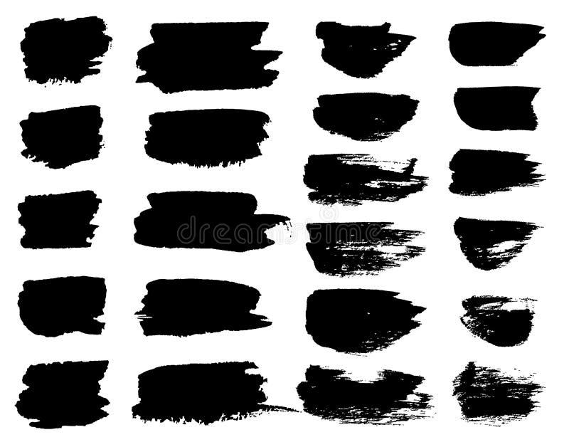 Dirigez les taches noires de pinceau, les lignes de barre de mise en valeur ou les gouttes horizontales de marqueur feutre de sty illustration stock