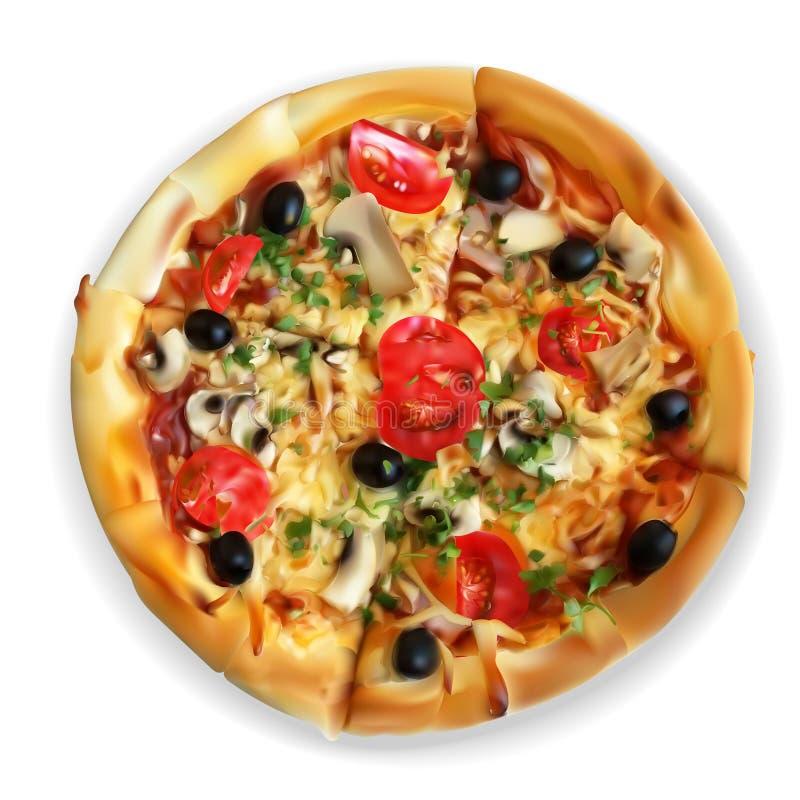 Dirigez les tranches appétissantes de vue coupées par tranches de pizza, foo illustration libre de droits