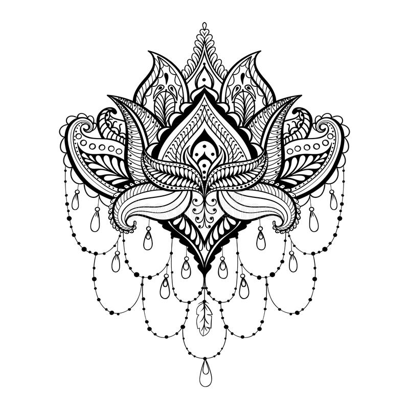 Dirigez Lotus ornemental, tatouage zentangled ethnique de henné, modèle illustration stock