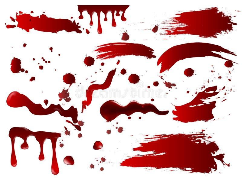 Dirigez sang de collection d'illustration le divers ou les éclaboussures de peinture et les taches rouges, éléments de concept de illustration de vecteur