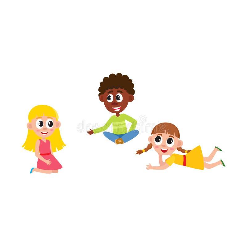 Dirigez se reposer plat de garçon et de filles, se trouvant au plancher illustration libre de droits
