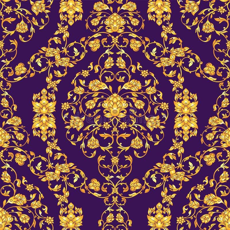 Dirigez seamlesspattern fleuri dans le style oriental sur le fond violet-foncé Décoration florale de vintage ornemental pour illustration de vecteur