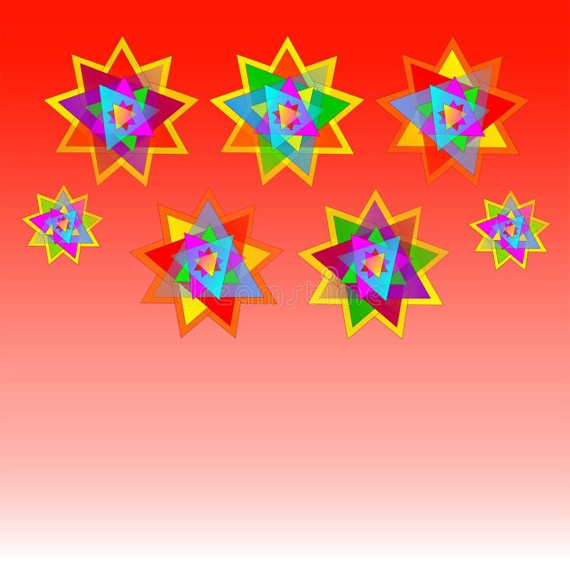Dirigez sept étoiles multicolores sur la carte rouge de fond, carte postale, invitation, illustration illustration libre de droits