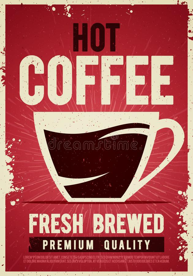 Dirigez signe de bidon de calibre d'affiche de vintage de café d'illustration le rétro avec la tasse pour la décoration intérieur illustration libre de droits