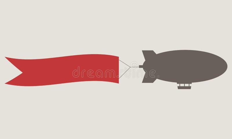 Dirigibile d'annata con il messaggio Dirigibile con l'insegna rossa del nastro Modello di vettore royalty illustrazione gratis