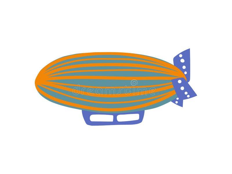 Dirigibile d'annata sveglio, illustrazione di vettore del fumetto del velivolo illustrazione di stock