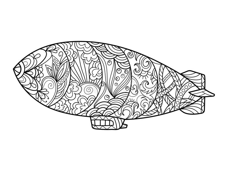 Dirigible Aircraft Coloring Book For Adults Vector Stock