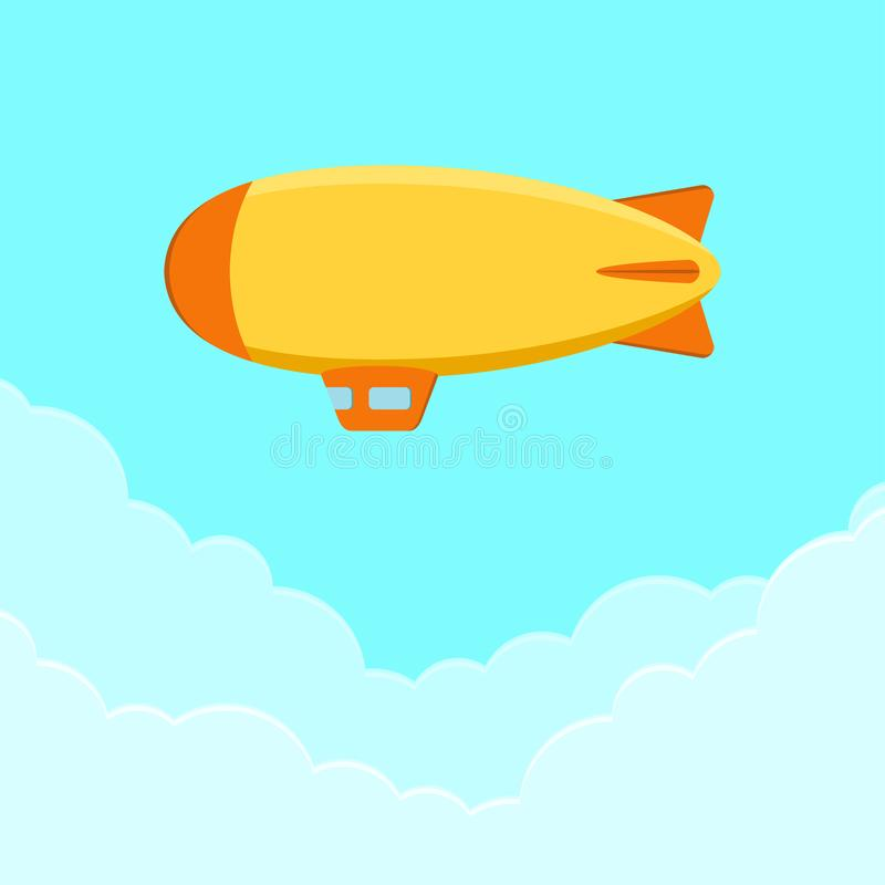 Free Dirigible, Airship Or Zeppelin. Flying Blimp In Sky With Clouds. Vector. Stock Image - 114441481
